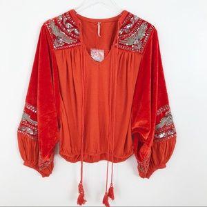 Free People Orange Embroidered Velvet Boho Top